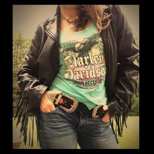 Rare Turquoise Harley Davidson Glitter Eagle Tank